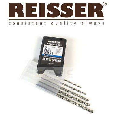REISSER 5 Piece HSS LONG SERIES Steel/Metal/Wood/Plastic Drill Bit Set + Case