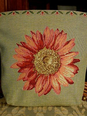 Belgian Tapestry Small Bag ~ Pink & Green Sunflower