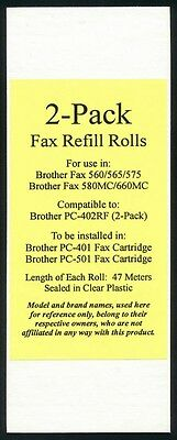 2 New Fax Cartridge Refill Rolls for Brother Fax 575