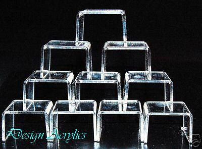 10 x CLEAR ACRYLIC MINI RISERS BRIDGE DISPLAY STANDS