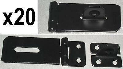 "20 x BLACK STEEL 3"" HASP & STAPLE for gates, sheds, etc"