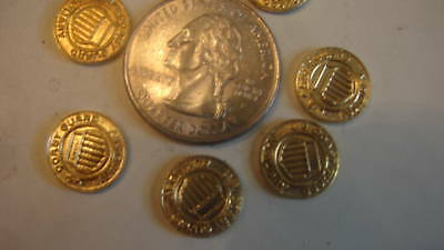6 Vintage Brass Coast Guard Auxillary Emblems