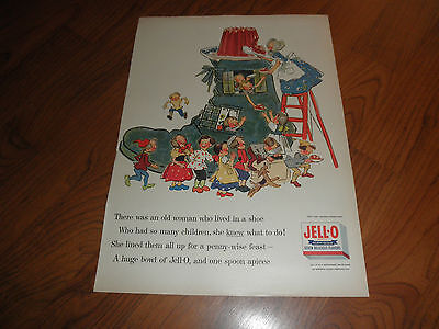 """JELL-O AD -""""Woman Who Lived In A Shoe-1955-Original Magazine Print"""