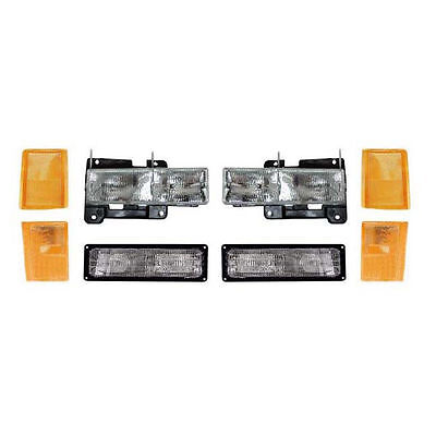 New 8 Piece Headlight Set for Composite Lamp Models Fits 88-93 Chevy GMC Pickup