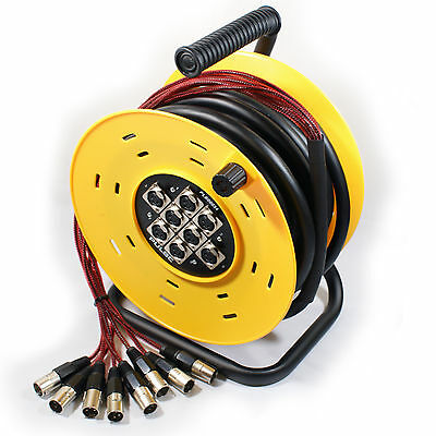 25m 8 Way XLR Male to Female Multicore Drum Cable - Audio Loom Stage Snake Reel