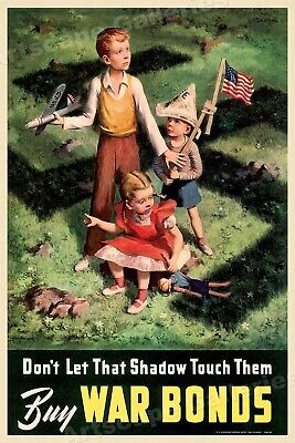 "1942 ""Don't Let That Shadow Touch Them!"" Vintage Style WW2 Poster - 16x24"
