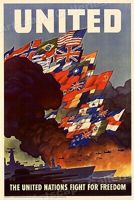 United Nations! Vintage Style World War 2 Poster 17x24