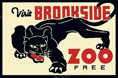 """1930s Black Panther """"Visit Brookside Zoo FREE"""" Classic WPA Poster - 16x24"""