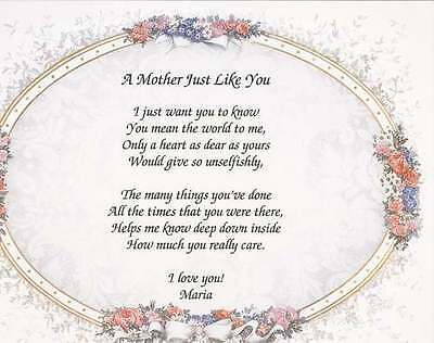 Personalized Poem For Mother In Law Choose Art Birthday Mothers Day
