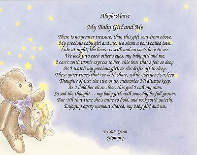 Personalized Poem My Baby Girl & Me from Mommy Choose Art Nursery Daughter Baby