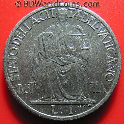 VATICAN CITY 1942 ONE 1 LIRA JUSTICE SEATED COLLECTABLE COIN STAINLESS 26.7mm