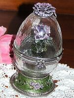 Jewelled Pewter & Glass Musical Collectors Egg-J211403