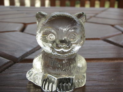 Vintage Clear Glass Cat Paperweight Figurine Cute
