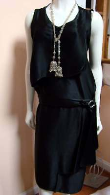 Vintage Deco Black Silk Charmeuse Dress with RStone Pin
