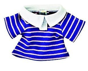 Webkinz Blue & Pink Striped Polo Shirt Clothes New Code