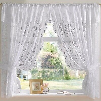 Andrea Jacquard Lace Net Curtain Set In White