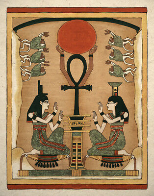 Egyptian Art Print Ancient Goddess Is and Nephthys Wall Decor