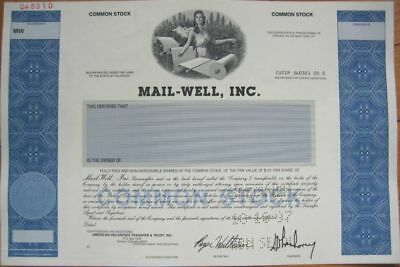 SPECIMEN Stock Certificate - 'Mail-Well, Inc.' / Cenveo