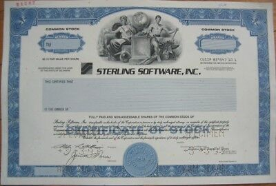 SPECIMEN Stock Certificate: ''Sterling Software, Inc.''