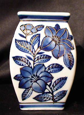 """PORCELAIN VASE 4-1/2"""" Tall, FLOW BLUE Hand Painted GOLD Numbered 64"""