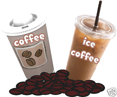 "Coffee Ice Coffees Decal 14"" Beverage Concession  Food Truck Vinyl Menu Stickers"