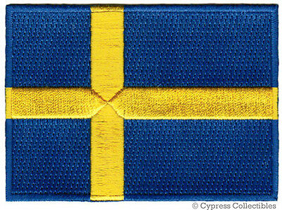SWEDEN FLAG embroidered iron-on PATCH SWEDISH EMBLEM Konungariket Sverige NEW