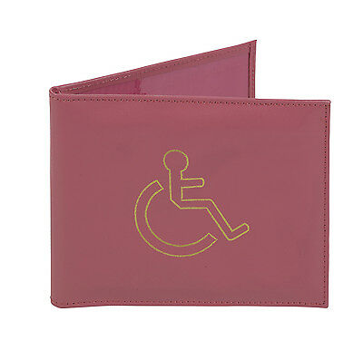Real Leather Pink Disabled Badge And Timer Parking Permit Holder Wallet Cover