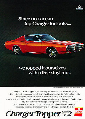 1972 Dodge Charger topper Red Vintage Advertisement Ad