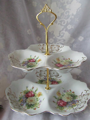Mixed Roses Two Tier  Fancy Nibbles Dish -Tp625