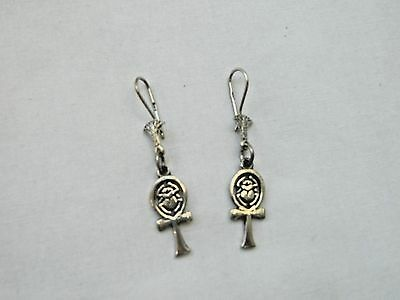 Egyptian Sterling Silver Ankh With Scarab Earrings 1.75