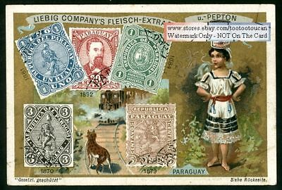 Stamps And Children Of Paraguay NICE c1898 Card