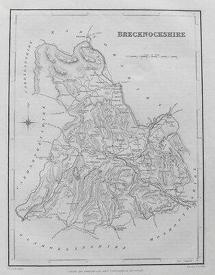 OLD ANTIQUE MAP BRECKNOCKSHIRE WALES by LEWIS 19th C c1830s