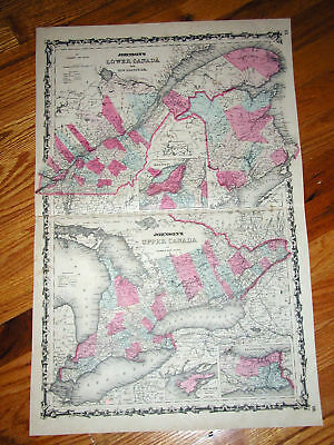 1862 Johnson's Map of Canada .Original Hand Colored Map