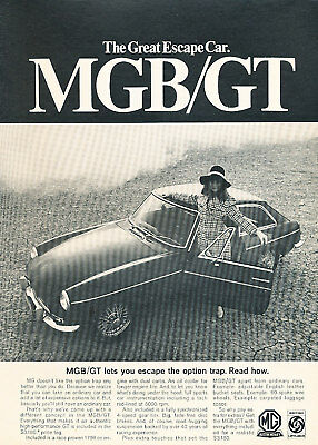 1968 MG MGB GT Classic Vintage Advertisement Ad Escape