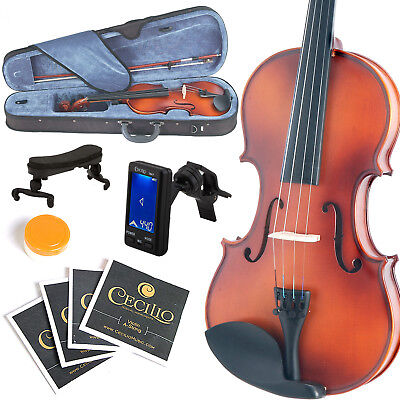 Mendini Full Size 4/4 Violin Solidwood Satin Antique+Tuner+Shoulderrest 4/4Mv300