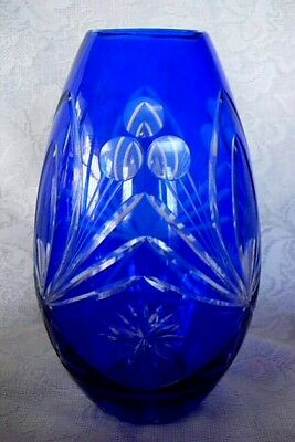 Collectible Large Cobalt Blue Blown Glass Cut-to-Clear Vase - Estate Item