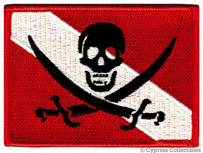 SCUBA DIVING PIRATE FLAG PATCH iron-on JOLLY ROGER embroidered DIVER DOWN SKULL