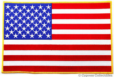 American Flag Embroidered Iron-On Patch - Large 11-Inch Usa Patriotic Back Vest