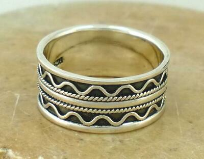 EXOTIC STERLING SILVER WIDE BALI STYLE BAND RING sz 10  style# r1543