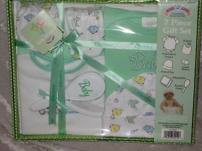 7 pc Layette Set Baby Animals Green Cap Mittens Bib Washcloths Brush NEW!