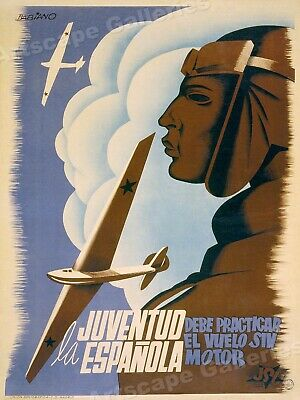 """Practice Gliding"" 1930s Spanish Civil War Poster - 24x32"