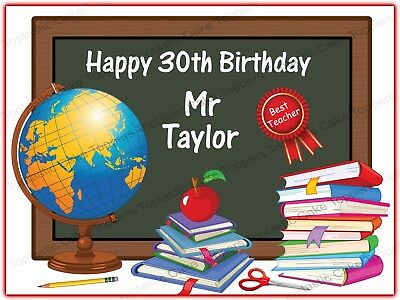Personalised School Teacher Classroom Edible Icing Birthday Party Cake Topper