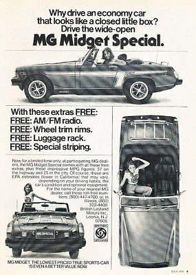 1976 MG Midget open special Vintage Advertisement Ad - PE10