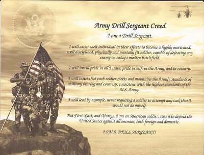 Army Drill Sergeant Creed Personalize with Name for Self, Graduates, Promotion