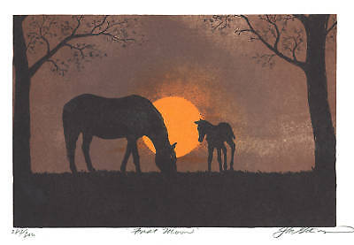 """""""FIRST MOON"""" true lithograph print HORSES - Mare & Foal"""