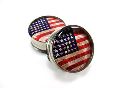 Pair of American Flag Plugs gauges Choose Size new