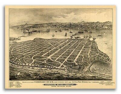 1880 Coronado Island California Vintage Old Panoramic City Map - 24x32