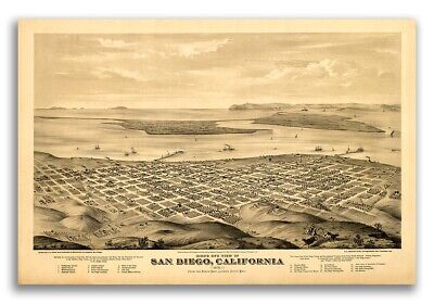1876 San Diego California Vintage Old Panoramic City Map - 20x30