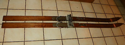Pair of Antique Oak Skis Wooden Skis  (HD17)