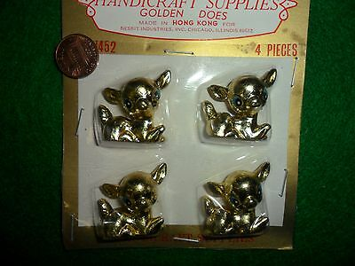 Vintage Plastic Gold Color Laying Down Deer